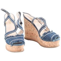 Prada Blue Denim Fringed Wedge Shoes Cork Platform