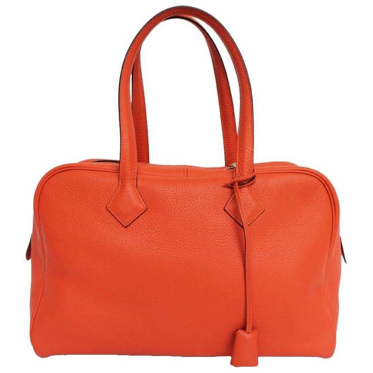 HERMES Victoria Orange Fire Clemence Leather Shoulder Bag For Sale