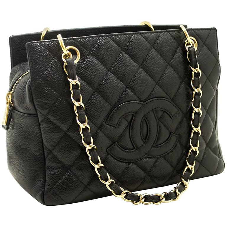 e63f6bcdbe66 CHANEL Caviar Small Shopping Tote Bag Chain Shoulder Black Quilted For Sale