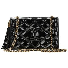 1990s Chanel Black Quilted Patent Leather Vintage Single Flap Bag