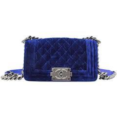 Chanel Blue Velvet Mini Boy Handbag