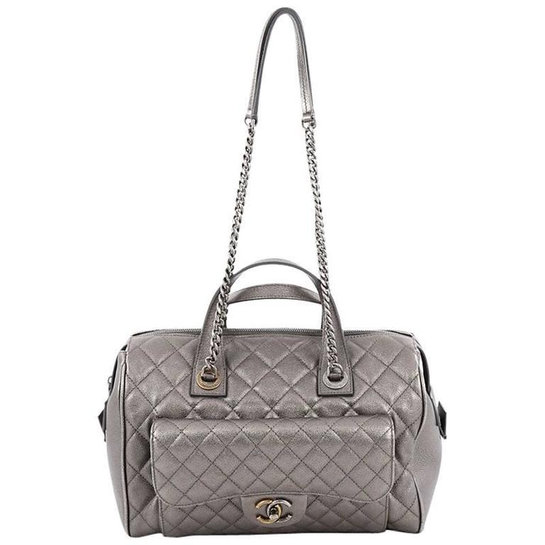 Chanel Two-Tone Front Pocket Bowling Bag Quilted Metallic Calfskin Medium
