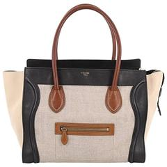 Celine Tricolor Shoulder Luggage Bag Canvas and Leather