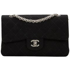 1990s Chanel Black Quilted Fabric Small Classic Double Flap Bag