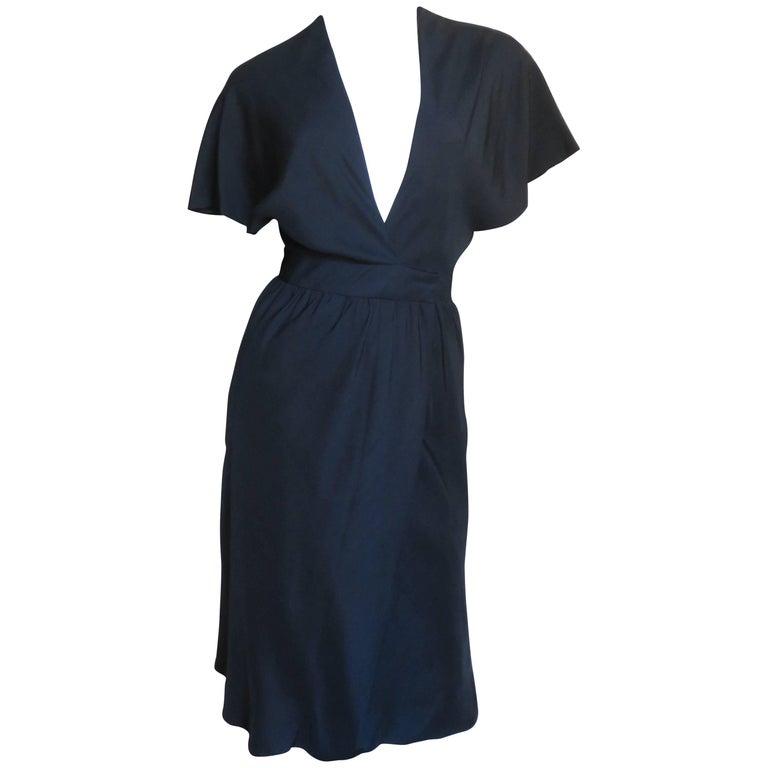 1970s Halston Plunge Silk Wrap Dress