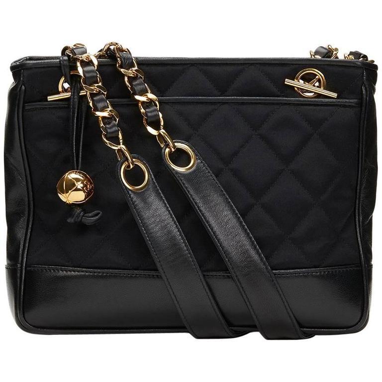 1990s Chanel Black Satin & Lambskin Vintage Timeless Shoulder Bag
