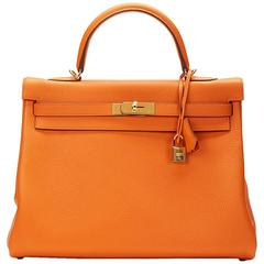 2016 Hermes Orange Clemence Leather Kelly 32cm Retourne
