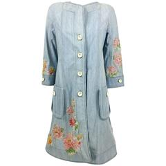 Dior by Galliano 2005 Runway Look Denim Shirt Dress With Crystals and Appliqués
