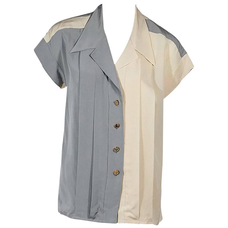 Tan & Grey Vintage Chanel Button-Front Shirt 1