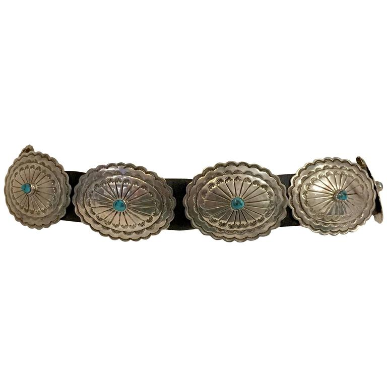 Iconic Sterling Silver and Turquoise Matrix Concho Belt by J.A. Beyta For Sale