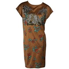 Brown Vintage Hermès Printed T-Shirt Dress