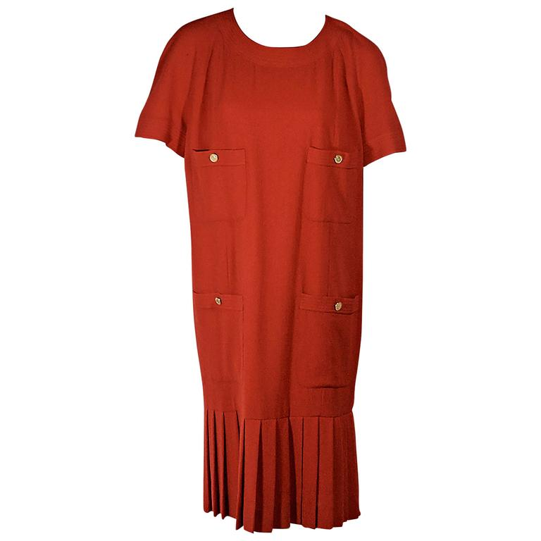 Red Vintage Chanel Pleated Short-Sleeve Dress
