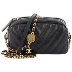Chanel Medallion Charm Camera Bag Chevron Calfskin Mini