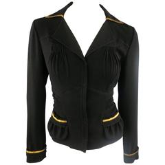 PRADA Size 8 Black Crepe Pleated Bust Gold Leather Trim Shirt Jacket