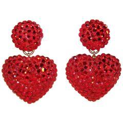 Ruby Red 1980's Richard Kerr Pave Crystal Heart Earrings