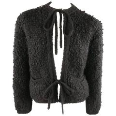 SONIA RYKIEL Black & Red Fuzzy Wool Knit Tie Cardigan Jacket
