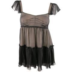 D&G Black & Beige Chiffon & Fringe Lingerie Inspired Camisole Blouse