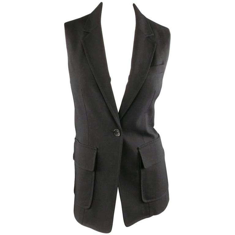 3.1 PHILLIP LIM Size 6 Black Virgin Wool Blend Notch Lapel Blazer Vest