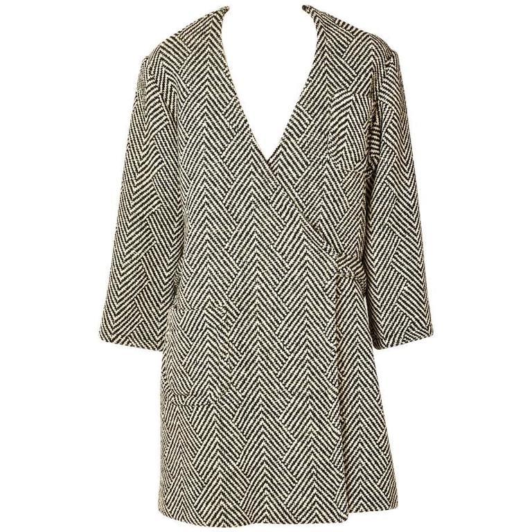 Rudi Gernreich Herringbone Tweed Wrap Coat