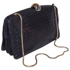 1970's Bottega Veneta Navy Blue Intrecciato Leather Handbag