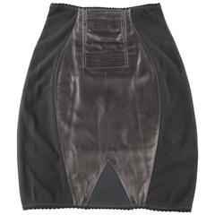 JEAN PAUL GAULTIER Size 6 Black Leather & Mesh Panel Girdle Pencil Skirt