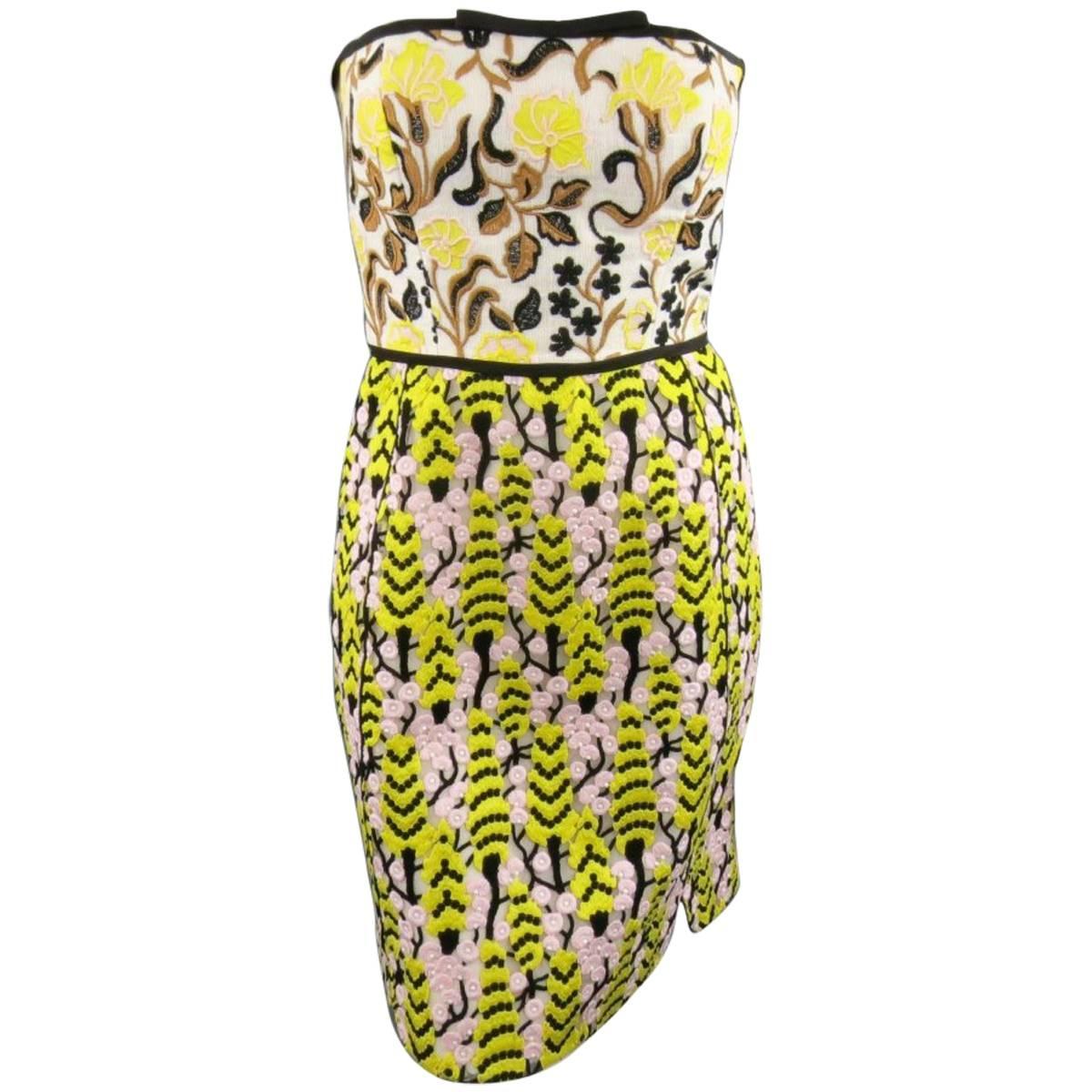 Giambattista Valli Yellow Pink Beige Linen and Lace Strapless Cocktail Dress