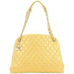 Chanel Just Mademoiselle Handbag Quilted Glazed Calfskin Large