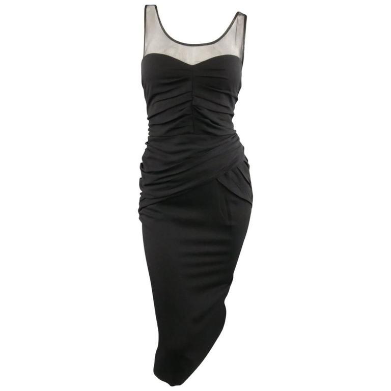 BURBERRY PRORSUM Size 10 Black Draped Silk & Mesh Cocktail Dress