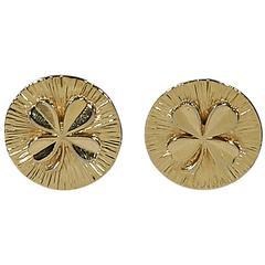 Goldtone Vintage Chanel Shamrock Earrings