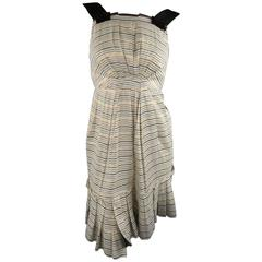 MARC JACOBS Size 2 Cream Metallic Striped Linen Asymmetrical Pleated Dress