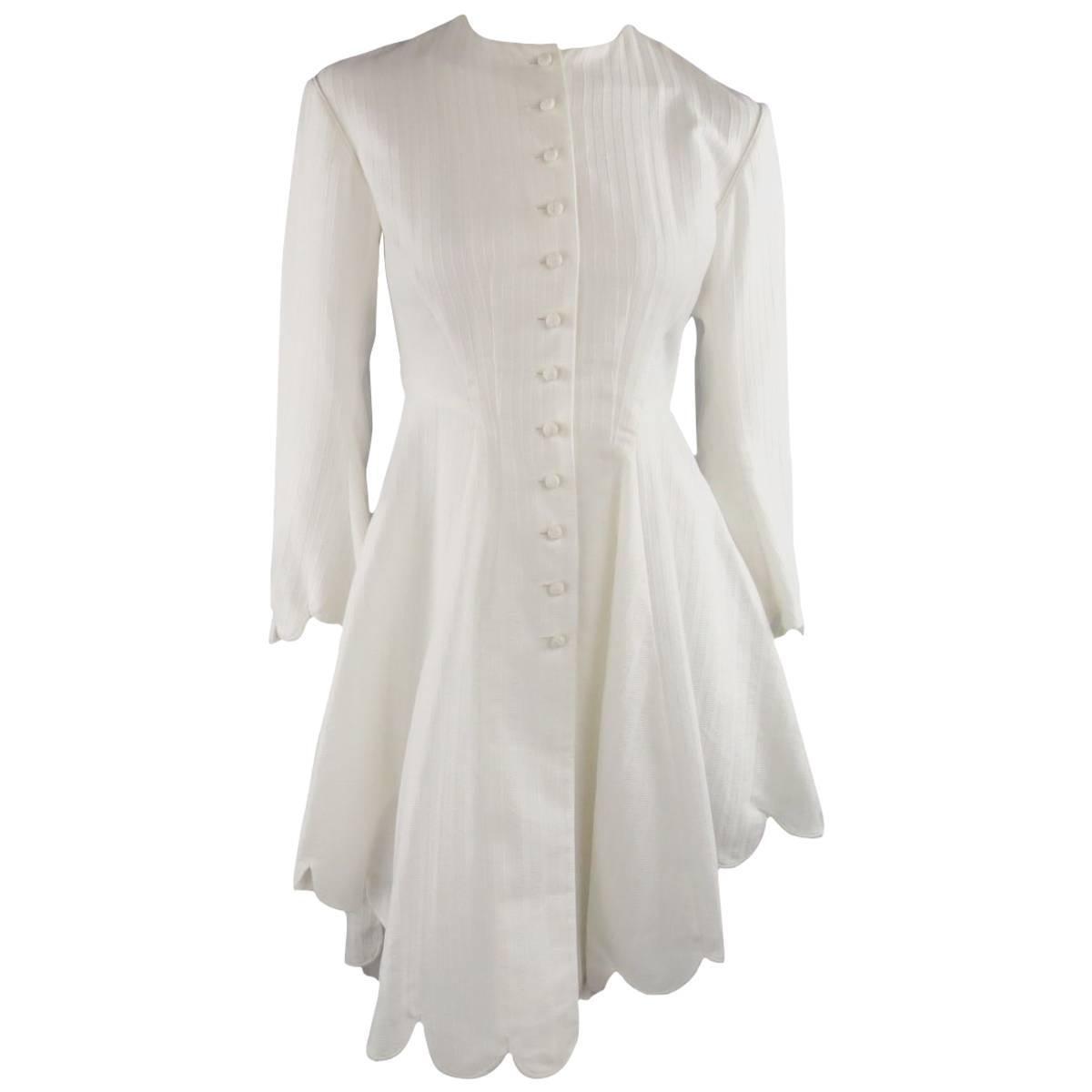 Ralph Lauren White Striped Cotton Scalloped High Low Shirt Dress At