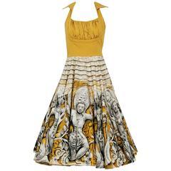 1950's Vibrant Polynesian Tiki Novelty Print Marigold Cotton Shelf-Bust Dress