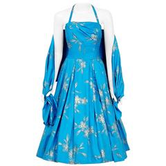 1950's Hawaiian Tropical-Floral Metallic Turquoise Print Cotton Halter Dress