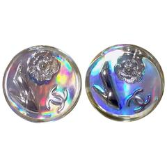 Vintage CHANEL silver tone and rainbow aurora shining earrings with motifs.