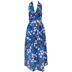 1970s Blue Cotton Cherry Blossom Print Halter Summer Maxi Dress