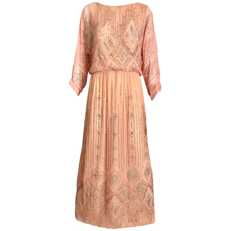 1970s Saks Fifth Ave peach dress with metallic glitter sequins maxi dress