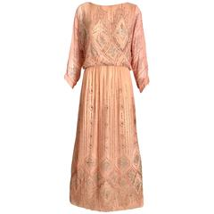 1970s Saks Fifth Ave peach dress with metallic glitter sequins maxi dress