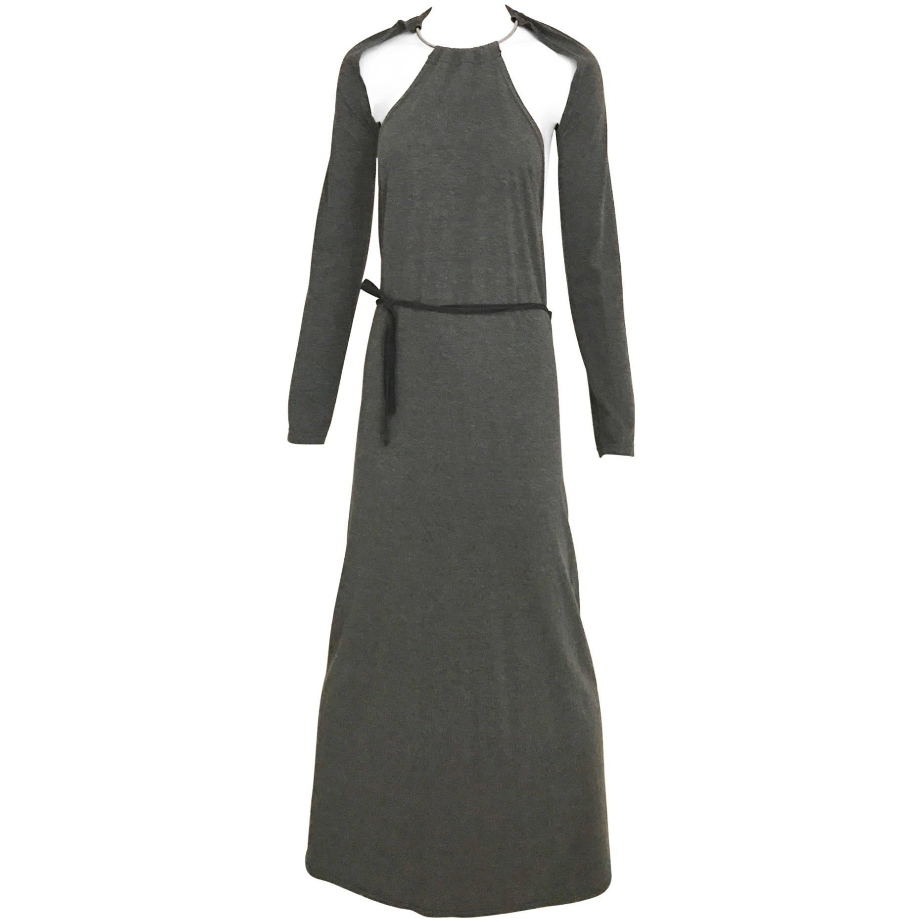 Margiela Grey Knit Halter Dress with Detachable  Long Sleeve