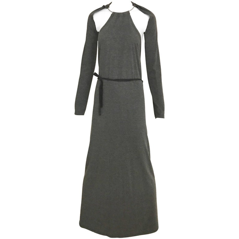 MARGIELA Grey Knit Halter Dress with Detachable Sleeve
