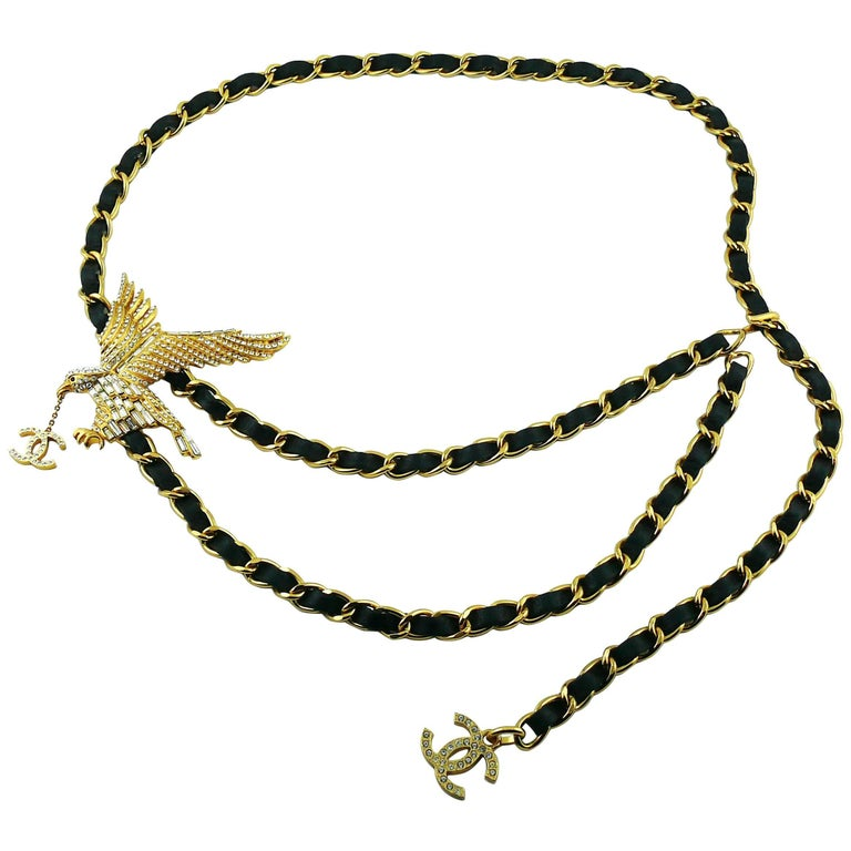 Chanel Rare Jewelled Eagle Black and Gold Runway Belt or Necklace For Sale