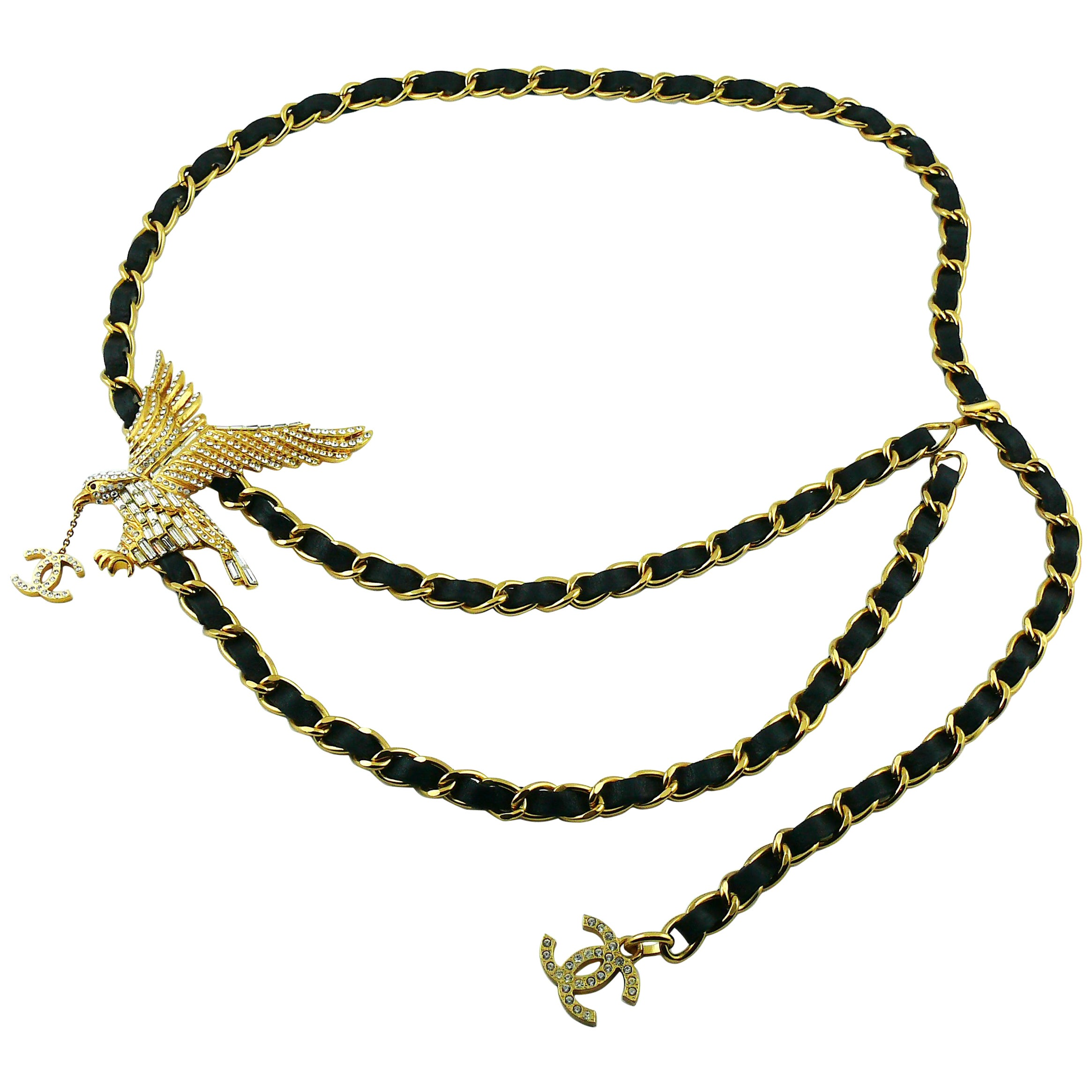 Chanel Rare Jewelled Eagle Black and Gold Runway Belt or Necklace