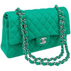 CHANEL 'Timeless' Double Flap Bag in Green Jersey
