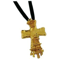 Christian Lacroix Vintage Gold Toned Cross Pendant Brooch