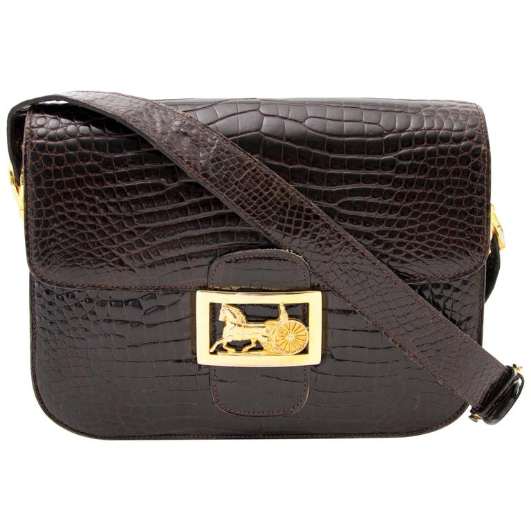 2b6a2aee54f6 Celine Vintage Croco Horse Carriage Box Bag at 1stdibs