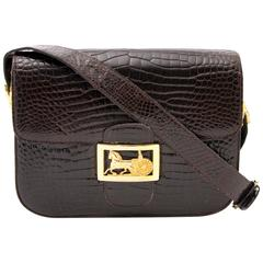 Celine Vintage Croco Horse Carriage Box Bag