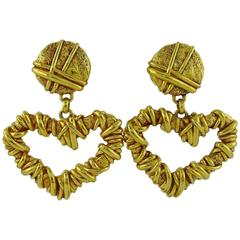 Christian Lacroix Vintage Gold Toned Wired Heart Dangling Earrings