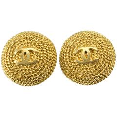 1995 Chanel Gold-Tone Twisted Rope Logo Earrings