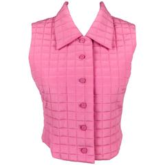 2000 Chanel Quilted Pink Silk Gilet