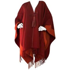 Hermes Burgundy Wool Rocabar Poncho Cape with Box