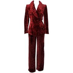 1980s Sonia Rykiel Bordeau Crushed Velvet Suit